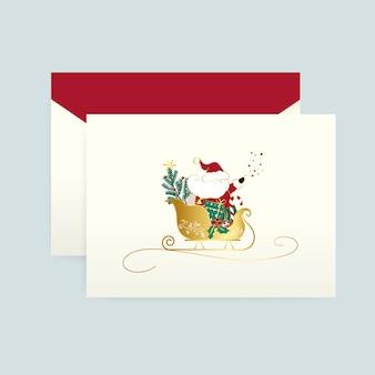 Weihnachtsmann auf einem weihnachtskartenvektor