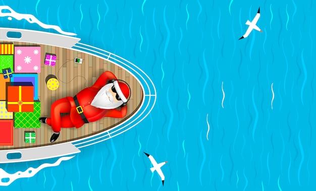Weihnachtsmann auf einer yacht liegend