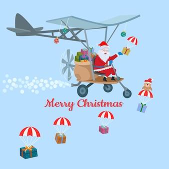 Weihnachtsmann auf flugzeug mit geschenkboxweihnachtskartendesign.