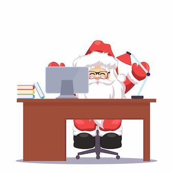 Weihnachtsmann auf ihrem weihnachtsschreibtisch