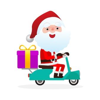 Weihnachtsmann auf motorrollermotorrädern