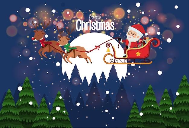 Weihnachtsmann auf schlitten mit hirschlieferungsgeschenk