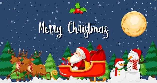 Weihnachtsmann auf schlitten mit rentier in der nachtszene