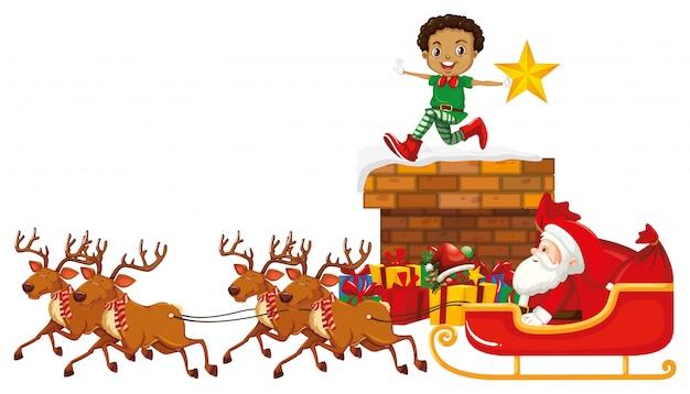 Weihnachtsmann auf schlitten mit rentier und elfe