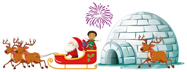 Weihnachtsmann auf schlitten mit rentieren