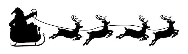 Weihnachtsmann auf schlitten und seine rentiere