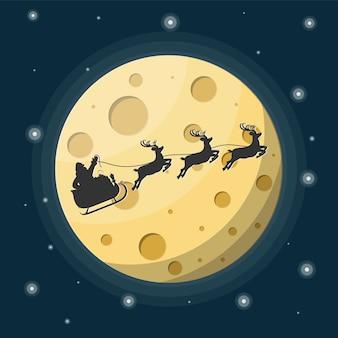 Weihnachtsmann auf schlitten voller geschenke und seine rentiere mit mond im himmel