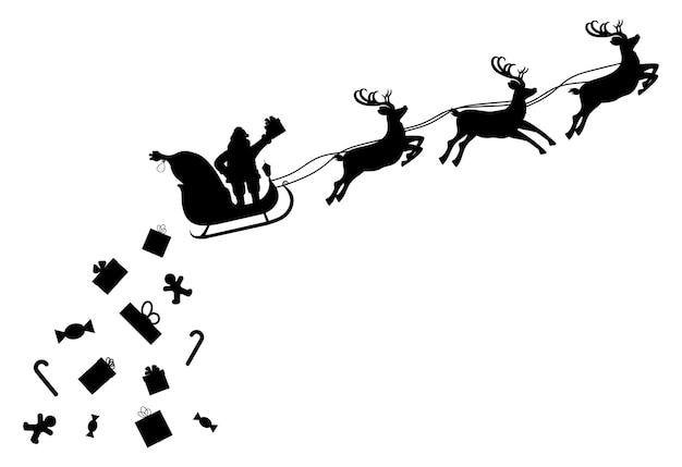 Weihnachtsmann auf schlitten voller geschenke und seiner rentiersilhouette. der weihnachtsmann lässt weihnachtsgeschenke fallen. frohes neues jahr dekoration. frohe weihnachtsfeiertage. neujahrs- und weihnachtsfeier. vektor-illustration