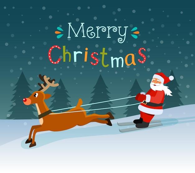 Weihnachtsmann auf skiern und hirschen. vektor-illustration.