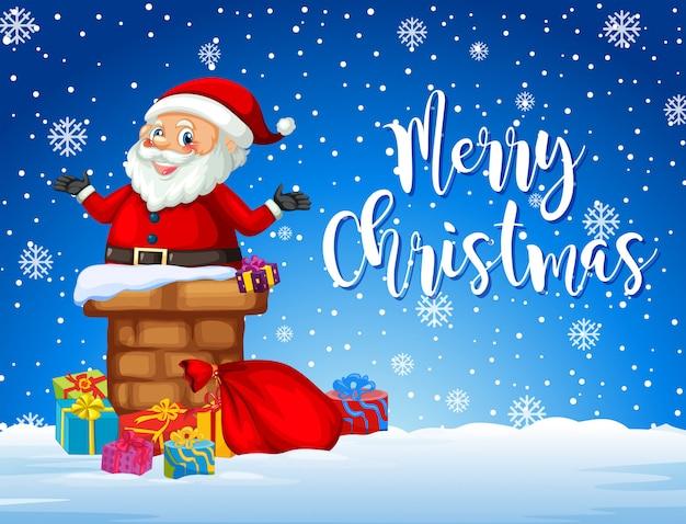 Weihnachtsmann auf weihnachtskarte vorlage