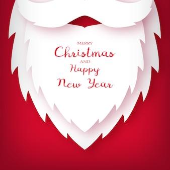 Weihnachtsmann bart papierschnittstil.