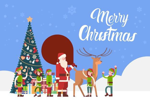 Weihnachtsmann carry present sack