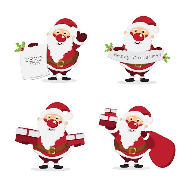 Weihnachtsmann cartoon-zeichensatz