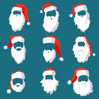 Weihnachtsmann-charakter mit hutmaskenschnurrbart und bartschablonensatz