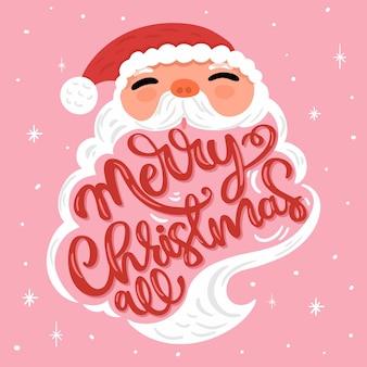 Weihnachtsmann-charakter mit schriftzug