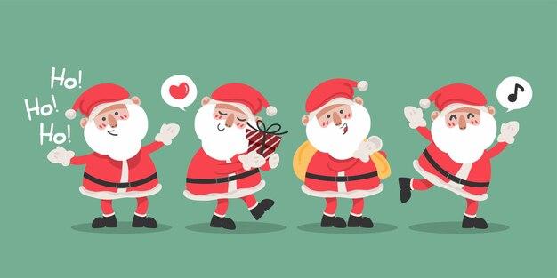 Weihnachtsmann-charaktersammlung im flachen design vektorillustration