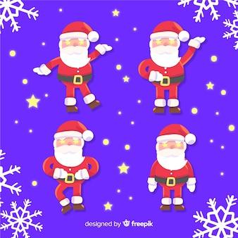 Weihnachtsmann-charaktersammlung im flachen design