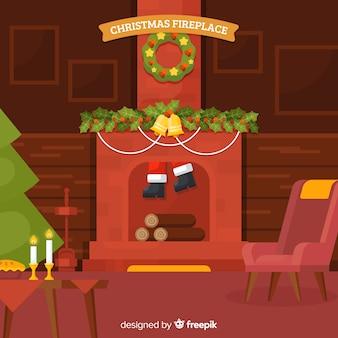 Weihnachtsmann den kamin hinunter