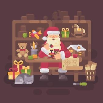 Weihnachtsmann, der am schreibtisch sitzt