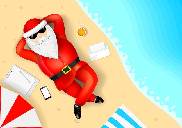 Weihnachtsmann, der am strand ruht