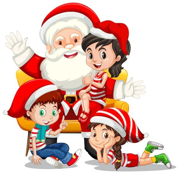 Weihnachtsmann, der auf einem schoß mit vielen kindern auf weißem hintergrund sitzt