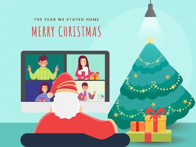 Weihnachtsmann, der auf videoanruf mit leuten interagiert