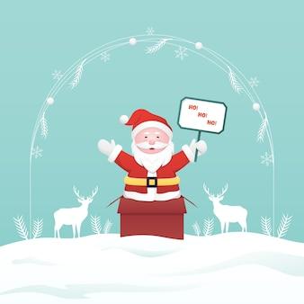 Weihnachtsmann, der aus geschenkbox auf winterhintergrund auftaucht
