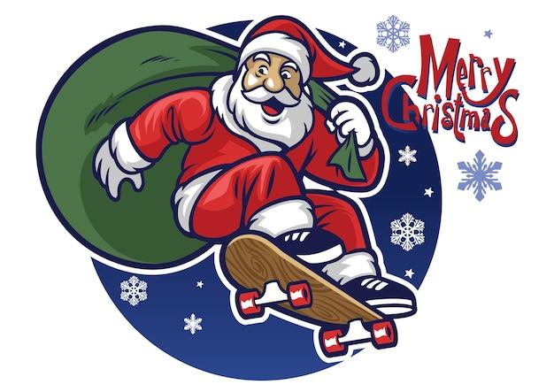 Weihnachtsmann, der das weihnachtsgeschenk durch das fahren eines skateboards liefert