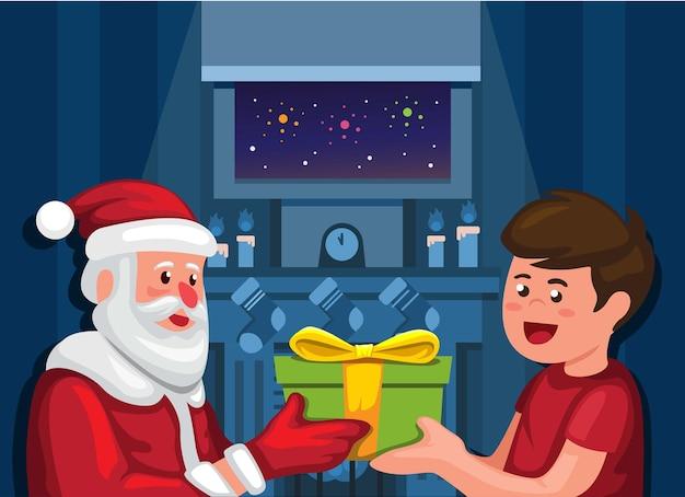 Weihnachtsmann, der dem jungen im weihnachtsnachtwintersaisonkarikaturillustrationsvektor geschenkbox gibt