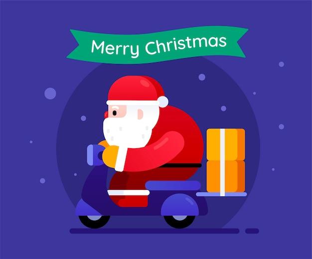 Weihnachtsmann, der ein motorrad reitet, das geschenke für weihnachtsnacht liefert