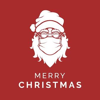 Weihnachtsmann, der eine gesichtsmaske trägt, die frohe weihnachten sagt