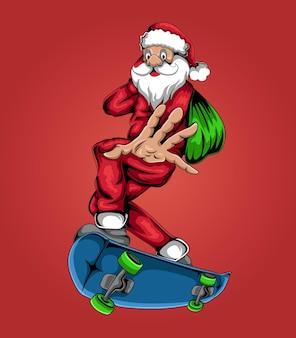 Weihnachtsmann, der eine skateboardvektorillustration fährt