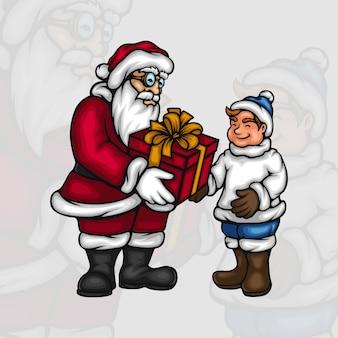 Weihnachtsmann, der einem kleinen jungen eine geschenkbox gibt
