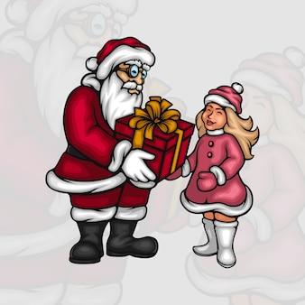 Weihnachtsmann, der einem kleinen mädchen eine geschenkbox gibt