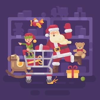 Weihnachtsmann, der einen einkaufswagen reitet