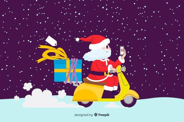 Weihnachtsmann, der einen roller reitet