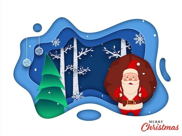 Weihnachtsmann, der einen schweren sack mit weihnachtsbaum, schneeflocken und hängenden kugeln auf papierschicht-schnitthintergrund für frohe weihnachtsfeier hebt.
