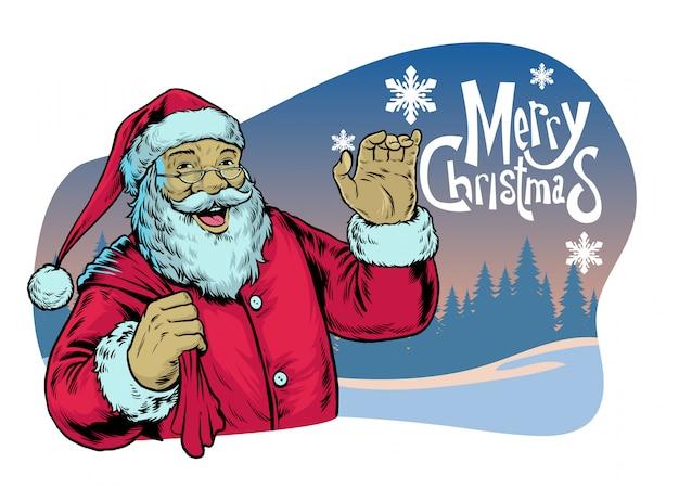 Weihnachtsmann, der frohe weihnachten grüßt
