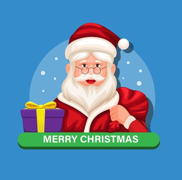 Weihnachtsmann, der geschenkbox für kinder auf weihnachtszeitcharakter-illustrationsvektor hält
