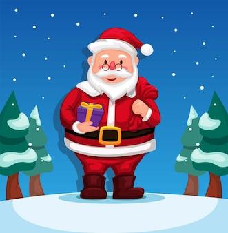 Weihnachtsmann, der geschenkbox für kinderweihnachtsjahreszeit-charakterillustrationsvektor hält