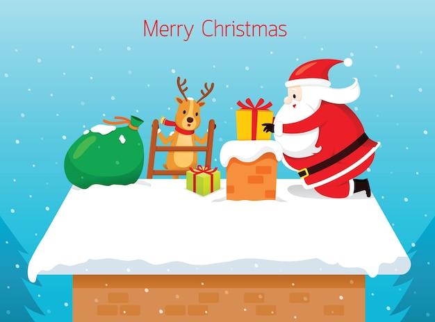 Weihnachtsmann, der geschenkbox in schornstein fallen lässt
