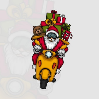 Weihnachtsmann, der geschenke auf einem roller liefert