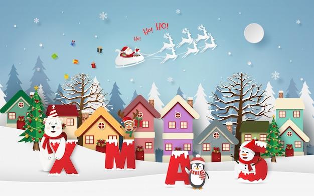 Weihnachtsmann, der geschenke im dorf mit weihnachtsfeier gibt