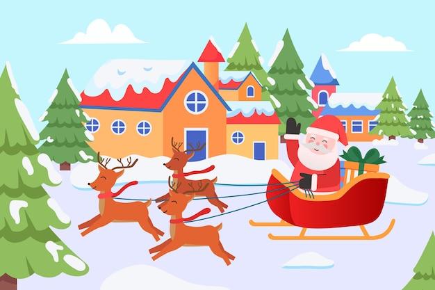 Weihnachtsmann, der geschenke in einem hirschwagen liefert