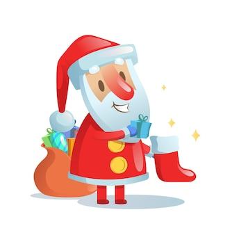 Weihnachtsmann, der geschenke in weihnachtsstrümpfe legt