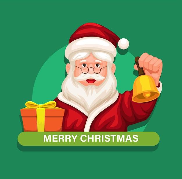 Weihnachtsmann, der glocke und geschenkbox-avatarcharakter auf weihnachtsjahreszeitkarikaturvektor hält