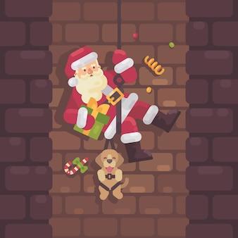 Weihnachtsmann, der hinunter den kamin abseilt