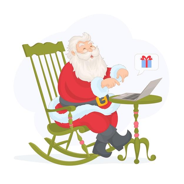 Weihnachtsmann, der im laptop auf weiß lokalisiert plaudert