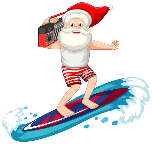 Weihnachtsmann, der im sommerthema auf weißem hintergrund surft