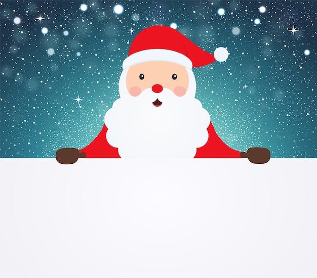 Weihnachtsmann, der im weißen leeren tuch auf schneebedecktem hintergrund zeigt.